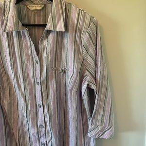 2/$18 Purple Pinstriped / 3/4 Sleeve Button Down